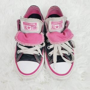 Converse Girls Black Pink and White Sneakers